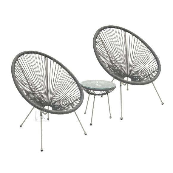 Garden4you Rõdukomplekt COMO laud ja 2 tooli, hall