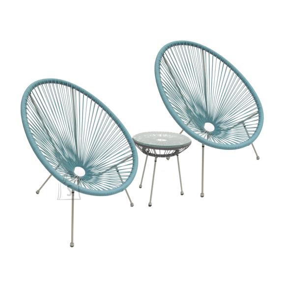 Garden4you Rõdukomplek COMO laud ja 2 tooli, sinine