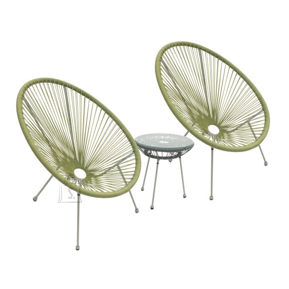 Garden4you Rõdukomplekt COMO laud ja 2 tooli, rohel