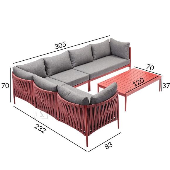 Garden4you Komplekt BREMEN laud ja nurgadiivan