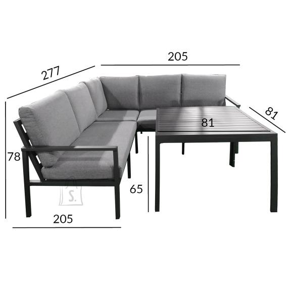 Garden4you Komplekt ADRIAN laud ja nurgadiivan