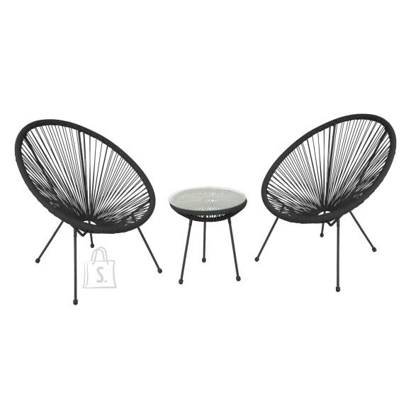 Rõdukomplekt COMO laud ja 2 tooli, must