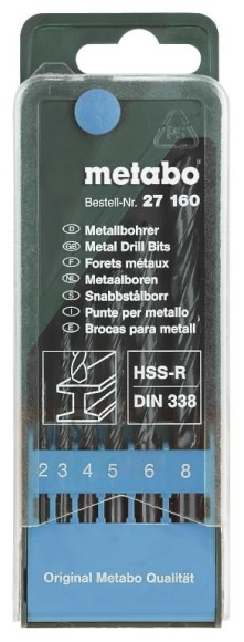 Metabo HSS-R, 2-8mm 6 osaline metallipuuride komplekt