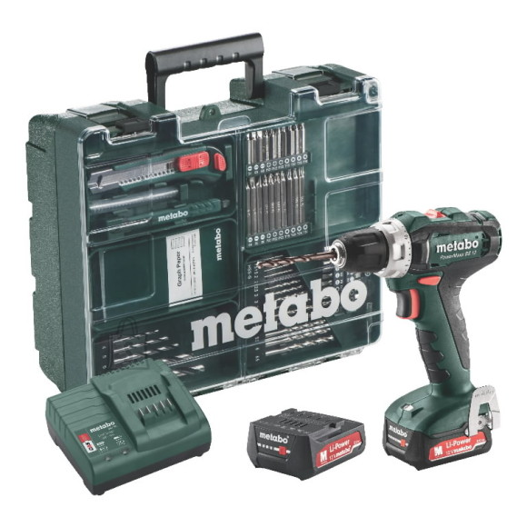 Metabo Akutrell PowerMaxx BS 12 Mobile Workshop, 63 osa/2x2,0Ah, Metabo