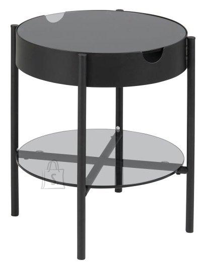 Diivanilaud Tipton Ø45, suitsuklaas/must metall