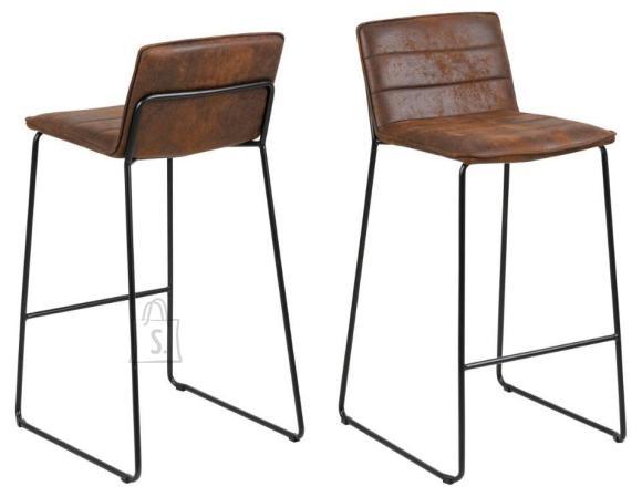 *Baaritooli iste on kaetud pruuni kangaga<br /> *jalad on metallist, viimistletud musta pulberv??rviga<br /> *istumisk??rgus: 73 cm<br /> *komplekti kuulub kaks tooli