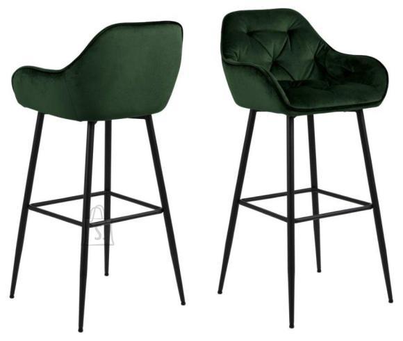 *Baaritooli iste ja seljatugi on kaetud metsarohelise sametise kangaga<br /> *jalad on metallist, viimistletud musta pulberv??rviga<br /> *istumisk??rgus: 79 cm<br /> *komplektis on 2 tooli