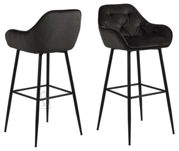 *Baaritooli iste ja seljatugi on kaetud mustjaspruuni sametise kangaga<br /> *jalad on metallist, viimistletud musta pulberv??rviga<br /> *istumisk??rgus: 79 cm<br /> *komplektis on 2 tooli