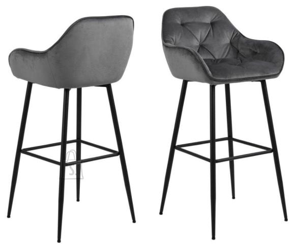 *Baaritooli iste ja seljatugi on kaetud tumehalli sametise kangaga<br /> *jalad on metallist, viimistletud musta pulberv??rviga<br /> *istumisk??rgus: 79 cm<br /> *komplektis on 2 tooli