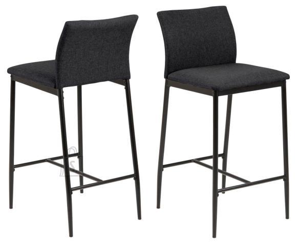 *Madal baaritool sobib paigutamiseks k????gisaare v??i t????tasapinna juurde<br /> *tooli iste ja seljatugi on kaetud tumehalli kangaga<br /> *jalad on metallist, viimistletud musta pulberv??rviga<br /> *istumisk??rgus: 67 cm<br /> *komplektis on 2 tooli