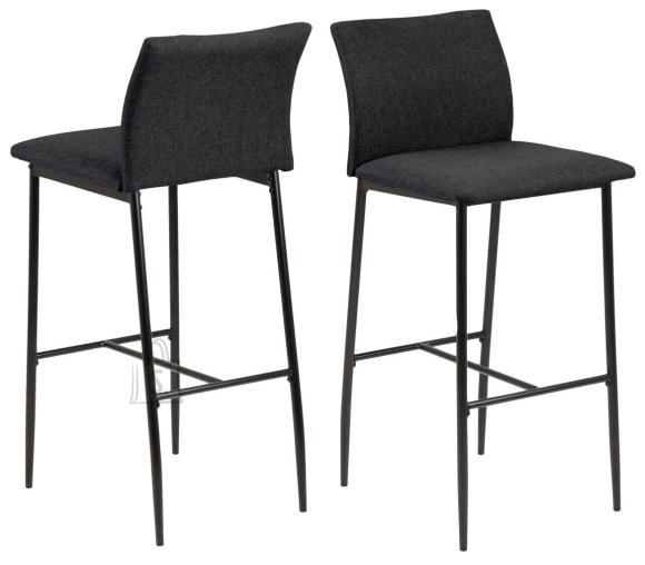 *Baaritooli iste ja seljatugi on kaetud tumehalli kangaga<br /> *jalad on metallist, viimistletud musta pulberv??rviga<br /> *istumisk??rgus: 77 cm<br /> *komplektis on 2 tooli