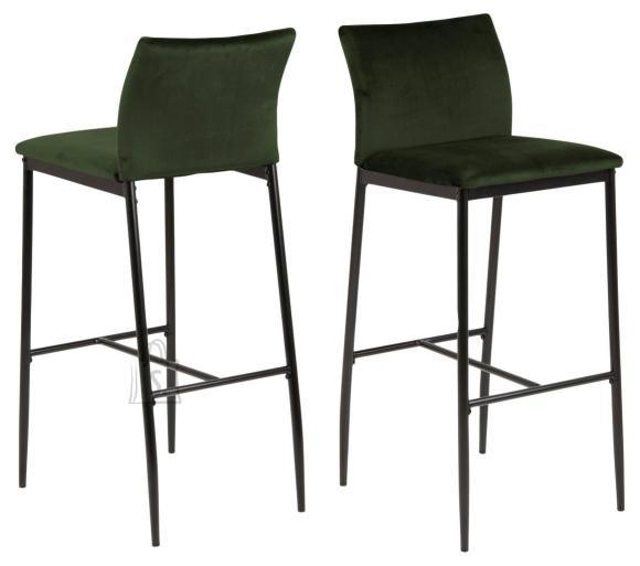 *Baaritooli iste ja seljatugi on kaetud tumerohelise kangaga<br /> *jalad on metallist, viimistletud musta pulberv??rviga<br /> *istumisk??rgus: 77 cm<br /> *komplektis on 2 tooli
