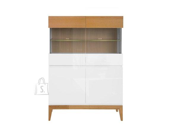 Kioto glass cabinet white/white gloss/natural oak