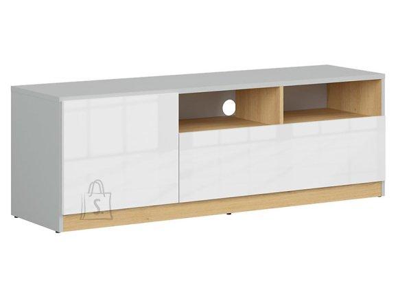 Nandu tv cabinet light gray/polish oak/white gloss