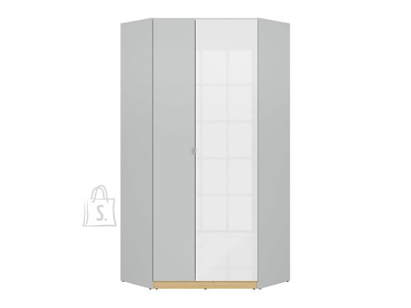 Nandu corner wardrobe light gray/polish oak/white gloss