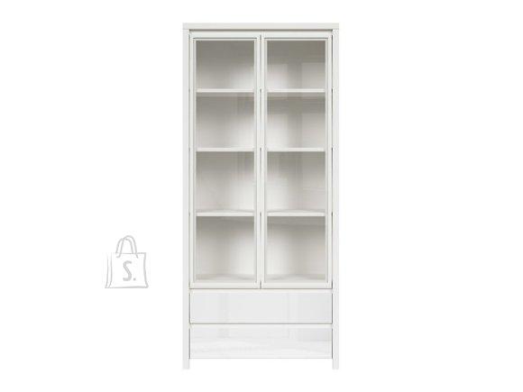 Kaspian glass cabinet white/white gloss