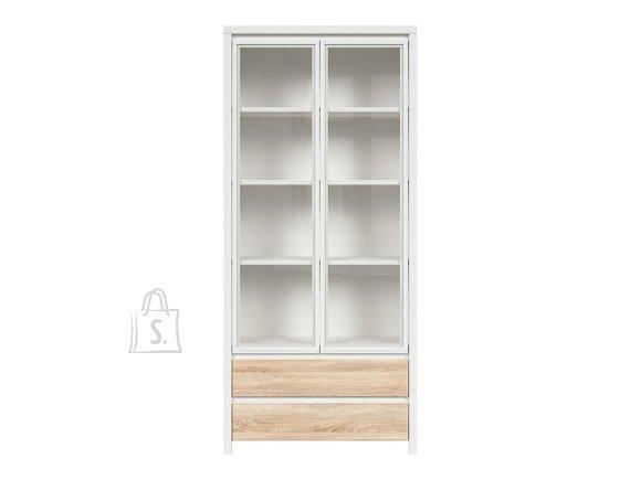 Kaspian glass cabinet white/sonoma oak