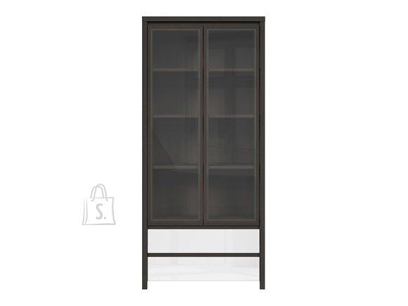 Kaspian glass cabinet wenge/white gloss