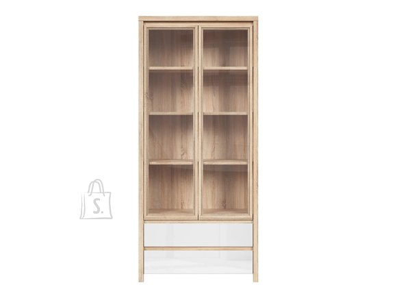 Kaspian glass cabinet sonoma oak/white gloss
