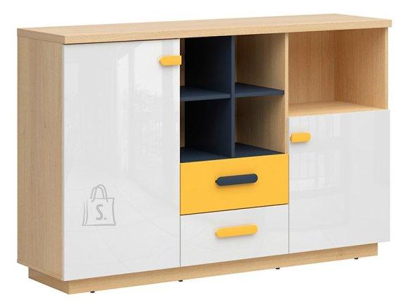 Wesker drawer oak polish/uni garnet/white gloss/yellow