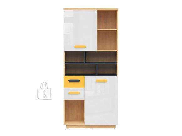 Wesker bookshelf oak polish/uni garnet/white gloss/yellow