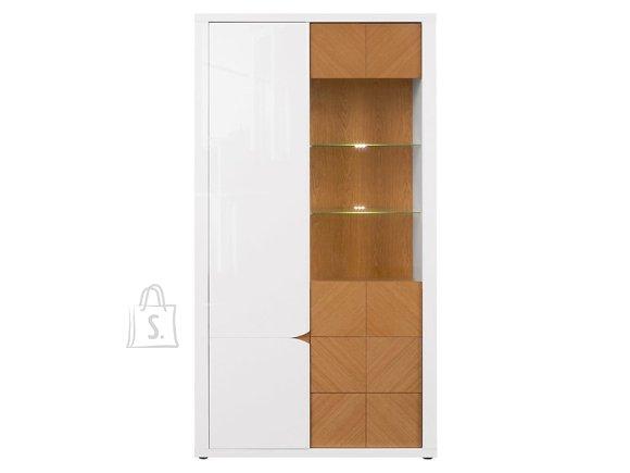 Rovika glass cabinet white gloss/natural oak