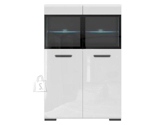 Assen glass-door cabinet white/white gloss
