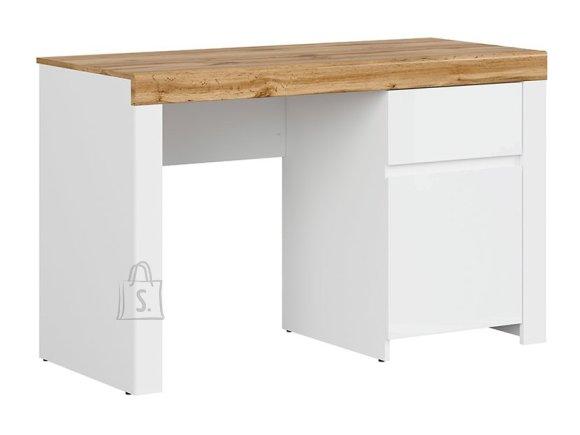 Holten desk white/oak wotan/white gloss