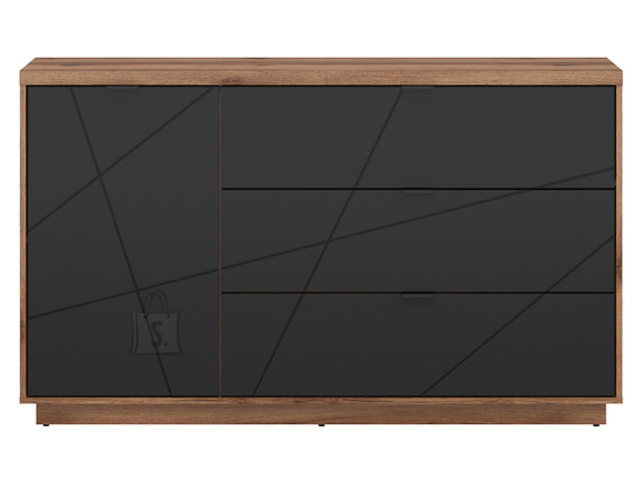 Forn chest of drawers oak delano/black mat
