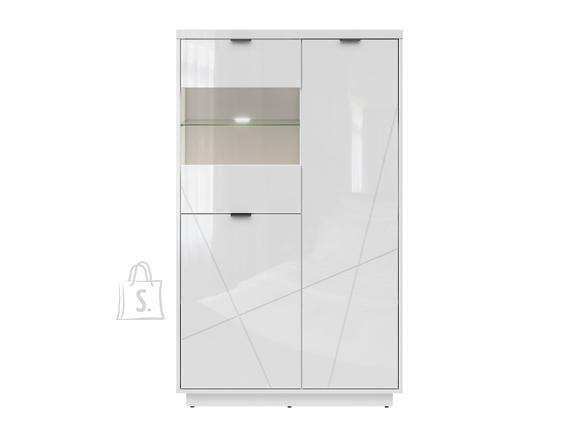 Forn glass-door cabinet white gloss/white high gloss