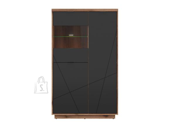 Forn glass-door cabinet oak delano/black mat