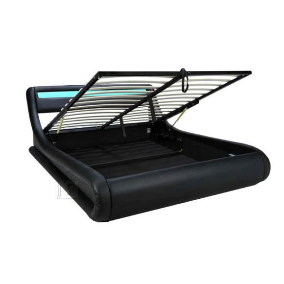 Pesukastiga voodi Surf  160x200 cm led must