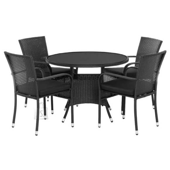 Aiamööbli komplekt Venetsia laud+4 tooli must