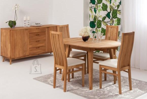 Tammepuust pikendatav söögilaud Basel 90-130x90 cm+ 4 tooli Sandra, beež