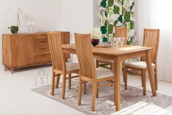 Tammepuust söögilaud Genf 140x90 cm+ 4 tooli Sandra, valge