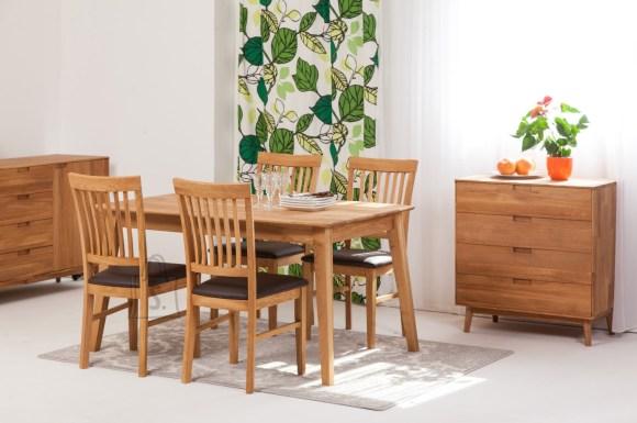 Tammepuust söögilaud Genf 140x90 cm+ 4 tooli Ronny, pruun 9160