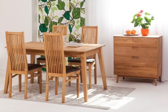 Tammepuust söögilaud Genf 140x90 cm+ 4 tooli Sandra, pruun 9140