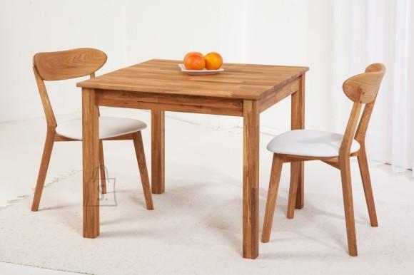 Tammepuidust söögitoakomplekt Lem - laud 90x90 cm + 2 tooli Irma, lumivalge 9151