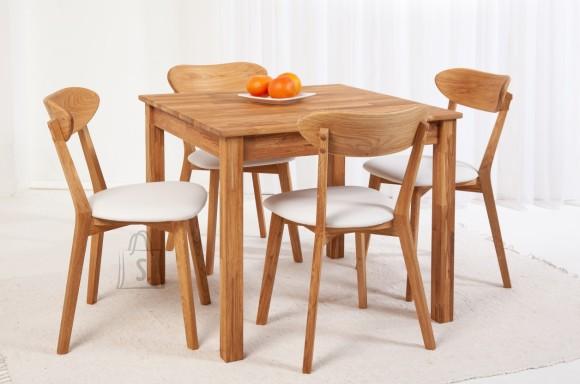 Tammepuidust söögitoakomplekt Lem - laud 90x90cm + 4 tooli Irma, lumivalge 9151
