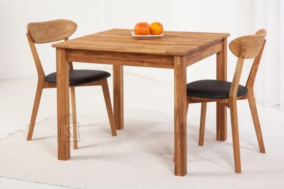 Tammepuidust söögitoakomplekt Lem 2, laud 90x90 cm + 2 tooli Irma, must 9152
