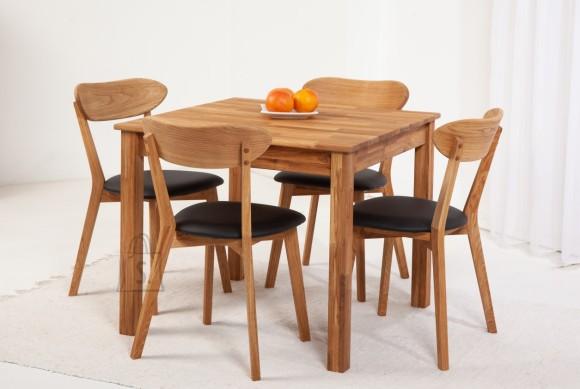 Tammepuidust söögitoakomplekt Lem 4 - 90x90cm + 4 tooli Irma, must 9152