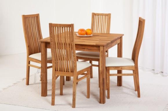 Tammepuidust söögitoakomplekt Lem 8 - 90x90cm + 4 tooli Sandra, helebeež 9130