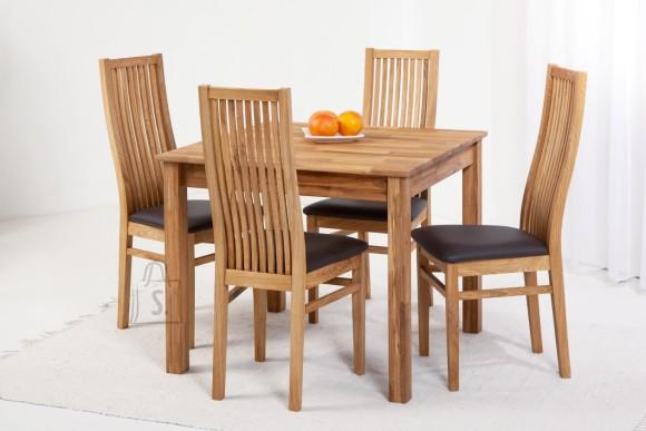 Tammepuidust söögitoakomplekt Lem 9 - laud 90x90cm + 4 tooli Sandra, tumepruun 9140
