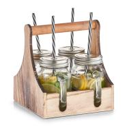Zeller Present Kõrrega joogipudelite komplekt puidust kastis, 4 tk
