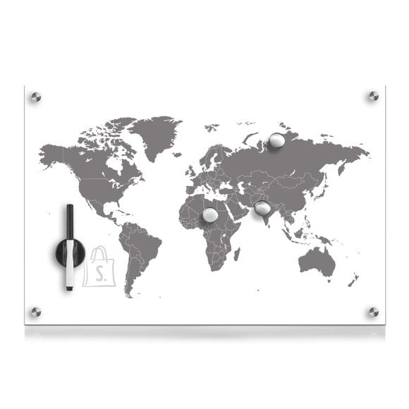 """Klaastahvel """"Worldmap"""" 60x40 cm"""