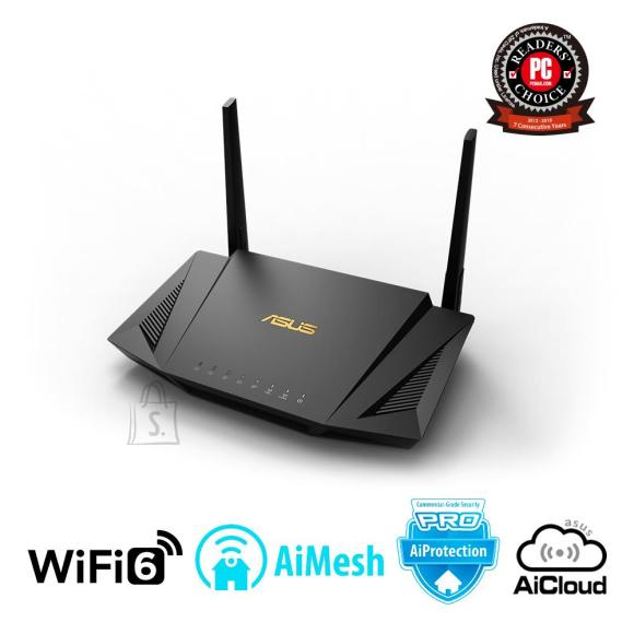 Asus Wireless Router|ASUS|Wireless Router|1800 Mbps|IEEE 802.11ac|IEEE 802.11ax|USB 2.0|USB 3.1|1 WAN|4x10/100/1000M|Number of antennas 2|RT-AX56U