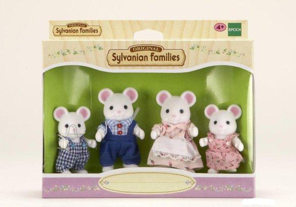 Sylvanian Families mängukujud valge hiire pere