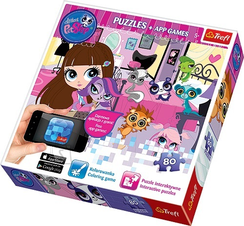 Trefl pusle Little Pet Shop 80 tk + App mäng