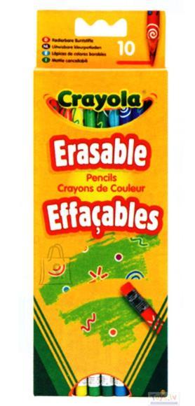 Crayola 10 pliiatsit kustutuskummiga