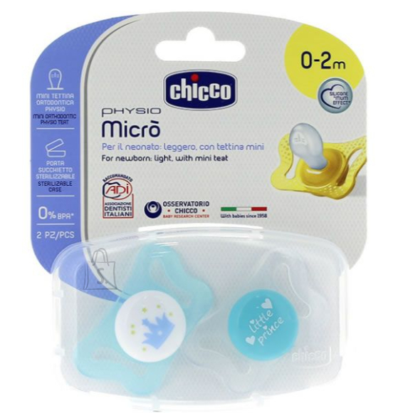 Chicco CHICCO PHYSIO MICRO Silikoonist lutt, 0-2m (Sinine)